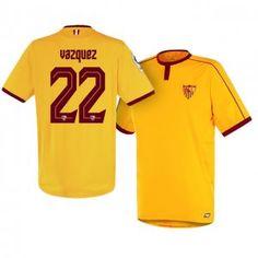 Sevilla FC Third 16-17 Season Yellow #22 Vazquez Soccer Jersey [I242]