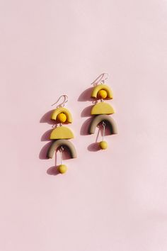 NEW - Modern, minimal design, soft colors inspired by spring. Yellow & light brown polymer clay earrings.