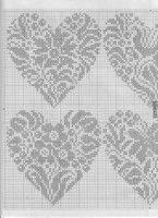 lots of cross stitch, many Renato Parolin Cross Stitch Fruit, Cross Stitch Heart, Embroidery Hearts, Cross Stitch Embroidery, Wedding Cross Stitch Patterns, Crochet Chart, Filet Crochet, Back Stitch, Knitting Charts