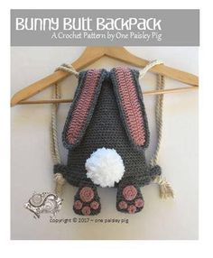 CROCHET PATTERN - Bunny Butt Backpack   PLEASE READ: ** THIS LISTING IS NOT FOR A FINISHED BACKPACK, it is for an instant download PDF Crochet Pattern to make the backpack shown. ** Due to the nature of digital downloads there is no refund on digital products as they cannot be returned.