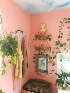 ‪I added new gold ornate shelves in my peach heaven bathroom. I feel like they should have always been there, it needs crown molding now. As I work on my home, business and garden all I can see is how. My New Room, My Room, Aesthetic Room Decor, Room Goals, Dream Apartment, Home And Deco, Dream Rooms, Home Interior, Interior Design