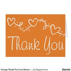 Orange Thank You Love Hearts - Wedding Party Fall Card