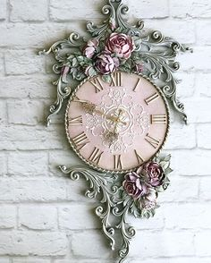 Carved Wood Wall Art, 3d Wall Art, Mural Art, Clock Painting, Sculpture Painting, Handmade Clocks, Cement Art, Floral Texture, Jar Art