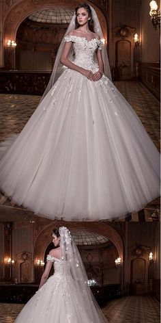 Stunning A-line Tulle Off-the-shoulder Ball Gown Wedding Dress With Lace