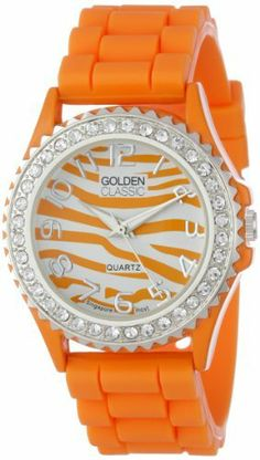 "Golden Classic Women's 2219-zebraorange ""Savvy Jelly"" Rhinestone Encrusted Bezel Silicone Watch Golden Classic. $16.99. Orange and white zebra pattern dial. Highest standard Quartz movement. Water-resistant to 99 feet (30 M); Not suggested for shower or water use. Rhinestone encrusted silver bezel. Orange silicone band and buckle. Save 56% Off!"