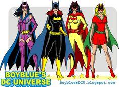 Some Gotham girls from the 1970s: Huntress (Helena Wayne), Batgirl (Barbara Gordon), Batwoman (Kathy Kane) and Bat-Girl (Betty Kane)