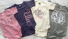 57 super Ideas for baby girl onesies vinyl baby clothes baby girl baby headbands baby room baby stuff Regalo Baby Shower, Cricut Baby Shower, Baby Monogram, Monogram Onesies, Monogram Baby Clothes, Vinyl Monogram, Vinyl Shirts, Custom Shirts, Silhouette Cameo Projects