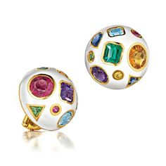 Verdura Fulco Earclips  White enamel dome earclip embedded with emerald, sapphire, ruby, amethyst, aquamarine, garnet, tanzanite, rubellite, citrine and gold.