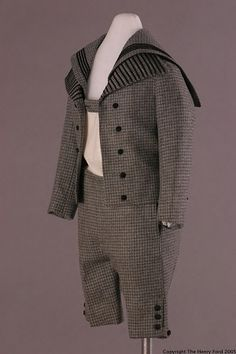 Little boy's houndstooth-checked wool suit with braid trim, American. c. 1892.