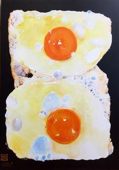 Fried egg  by Yukimichi Hamaura acrylic