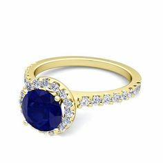 Petite Pave Diamond & Sapphire Ring in Gold or Platinum