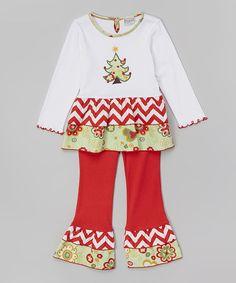 Look at this #zulilyfind! White Tiered Christmas Tree Tunic & Pants - Toddler & Girls by AnnLoren #zulilyfinds