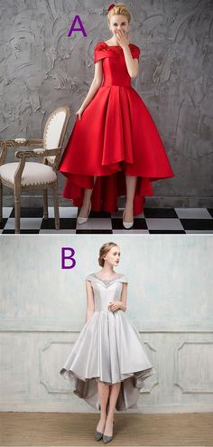 Red Short Sleeve High Low A Line Satin Prom Dresses With Beaded #promdress #prom #dress #dresses #promdresses Prom Dresses Online, Cheap Prom Dresses, Dresses For Sale, Girls Dresses, Inexpensive Wedding Dresses, Affordable Bridesmaid Dresses, Prom Dress Shopping, Red Shorts, Knee Length Dresses