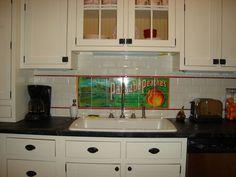 Residential Kitchen Backsplash in Lyric Decades Vanilla Bevelled Subway Tile with custom Sublimation tile design.