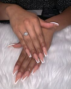 30 coffin nail designs you'll want to wear right now 17 Aycrlic Nails, Bling Nails, Coffin Nails, Hair And Nails, Stiletto Nails, White Tip Acrylic Nails, Square Acrylic Nails, Nagel Bling, Nagel Hacks