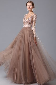 Full Tulle A-line Applique Sleeves Prom Gown