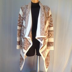 NWOT Tan and Cream Cardigan. Beautiful Design. Perfect condition. Sweaters Cardigans