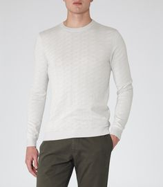 Mens Grey Contrast Detail Jumper - Reiss Jump