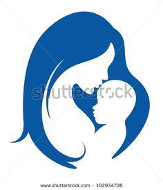 madre y el bebé vector silueta