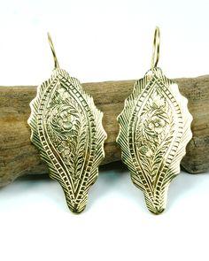 Indian Brass Floral Leaf Earrings