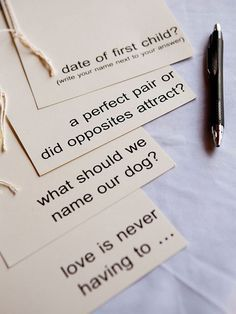 Leave advice/prediction cards about your future together for guests to fill out.