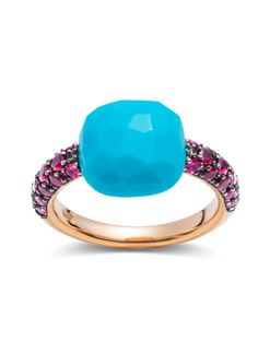 Pomellato ruby and turquoise Capri ring in rose gold with turquoise and rubies. Native American Jewellery, American Jewelry, Pomellato, Jewelry For Her, Fine Jewelry, Heart Jewelry, Modern Jewelry, Unique Jewelry, Bijoux Design