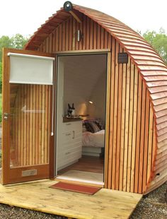 Mini glamping cabin on Loch Ness, United Kingdom, where you can try out tiny home living for a few days. Click through for full story and pix.
