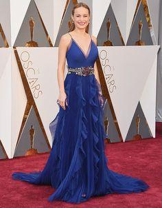 Todas las miradas estaban puestas en Brie Larson, radiante de azul klein, que suena como la favorita para ganar el Oscar por su papel en La habitación © Getty Images - Foto 3 - Oscars 2016: Comienza el despliegue de 'glamour' en la alfombra roja