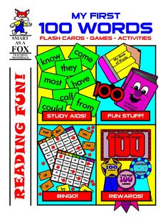 My First 100 Words - Here is everything you need to teach the 100 most common words in the English language! Included are large size reproducible flash cards of all 100 words and an envelope in which to store them. You'll also find tiny size flash cards, a Bingo game using the same 100 words, a mini-book with all 100 words, a mini-writing book to practice new words, and a word-eating paper bag puppet!