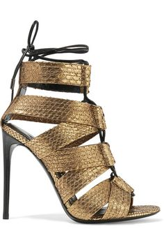 Heel measures approximately 105mm/ 4 inches Gold python Ties at ankle  Python: Vietnam Made in Italy