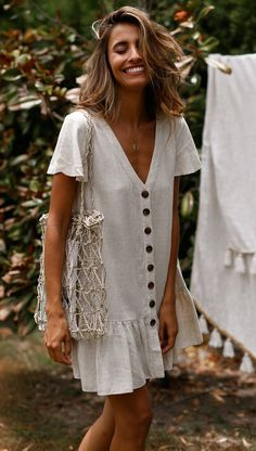 SingleBreasted Deep VNeck Cotton And Linen Dress is part of Summer outfits - Daily Life Style Casual Gender Women Product no 20190225 Please Note All dimensions are measured manually with a deviation of 1 to Linen Dresses, Casual Dresses, Casual Outfits, Maxi Dresses, Teen Outfits, Woman Dresses, Elegant Dresses, Printed Dresses, Beige Dresses