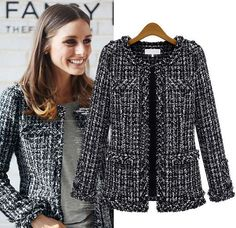 2017 Womens Black and White Plaid Tweed Jacket Coat Spring Autumn Fashion Office Designer Bomber Jacket Women XXXL Chanel Blazer, Chanel Tweed Jacket, Chanel Style Jacket, Boucle Jacket, Tweed Blazer, Bomber Jacket, Mode Bcbg, Coco Chanel Fashion, Coco Chanel Style