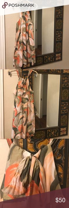 """NWOT 30% silk Tommy Bahama sundress Tommy Bahama sundress. Ties behind neck. Outer material 70% cotton and 30% silk. Lining 100% cotton. Chest: 36"""". Neckline to hem: 32"""". Tommy Bahama Dresses Midi"""