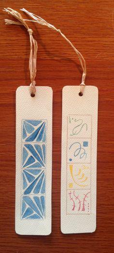 Segnalibri su carta da acquerello.  Realizzati da Daniela Paola
