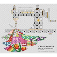 Patchwork Sewing Machine Cross Stitch Instant by Chartsandstuff Dragonfly Cross Stitch, Elephant Cross Stitch, Cross Stitch Love, Cross Stitch Kits, Cross Stitch Charts, Cross Stitch Designs, Cross Stitch Patterns, Blackwork Patterns, Blackwork Embroidery