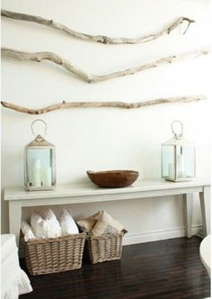 Love. This. The lanterns, the branches, the bench, the pillows, the baskets....#natural #decor
