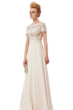 Sleeved Lace Ivory Wedding Dress (30392)  £350.00  LAST FEW LEFT IN STOCK.    You'll definitely love this sleeved lace ivory wedding dress by Elliot Claire London. Featuring boat neckline with lace details embellishments on bodice, a gold inner layer for sophisticated look and natural waist. The flowing A-line skirt falls to the floor in gleaming chiffon fabric . This simply elegant or sleeved lace ivory wedding evening dress is also perfect for your next special event.
