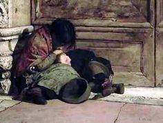 """""""Abandoned"""" (artist unknown). I often wonder why, if Ma. Antoinette loved children so much, did she never try to help children, like these, who slept in the street - in freezing cold weather -  stole or begged for bread, and could never find shelter to keep themselves warm enough. Were she and her courtiers so blind?"""
