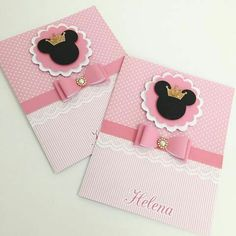 Diy Birthday Banner, Minnie Birthday, Kids Birthday Cards, Girl Birthday, Mickey Party, Mickey Minnie Mouse, Bolo Minnie, Baby Cards, Kids Cards