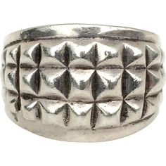 Vintage Chunky Sterling Silver Squares Design Ring