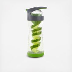 For the days you can't slip away to the spa, we have something almost as delicious. Use the removable spiral cutter in this little lovely to infuse your water with the fresh flavor of cucumber. Not quite as indulgent as a massage, but this way, you can get a taste of relaxation on the go.  Features:  Cleaner, greener glass is the healthiest choice in reusable bottles  Removable cucumber spiral cutter adds fresh flavor  Soft lid and specially-designed lid cushion the blow if dropped…
