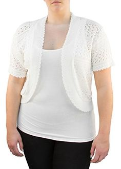 Knit Minded Womens Plus Size Womens Acrylic Pointelle Knit Bolero Jacket (See More Colors and Sizes)