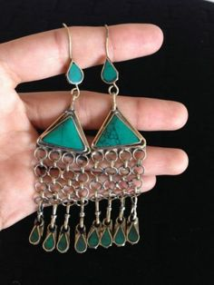 "Turquoise Earring and Alpaca Silver 4"" inches Afghan Kuchi Earrings 