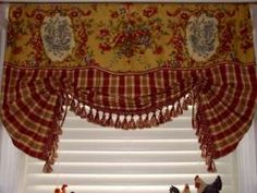 French Country VALANCE Balloon Shade Curtain Red Gold Waverly Toile Plaid Trim in Home & Garden, Window Treatments & Hardware, Curtains, Drapes & Valances Lace Balloons, Country Valances, Balloon Shades, Toile Wallpaper, Rooster Decor, Custom Window Treatments, Red Curtains, French Country Style, Window Coverings