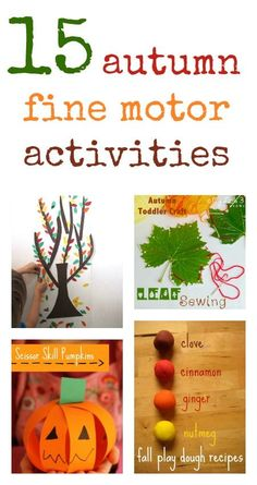 Fall fine motor activities.  Developing strength and dexterity in hands, wrists and fingers are very important skills. They pave the way for holding pencils, writing, using scissors, fastening buttons and many other everyday activities.  Such a common issue with students with disabilities.  Scroll through the pictures to get tons of great ideas.  Read more at:  http://www.baby.co.uk/life_and_home/2014092315-fine-motor-activities-for-autumn/