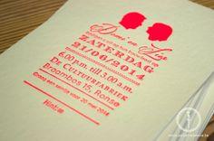 #letterpress #fluo #trouwannonce www.petitemadeleine.be