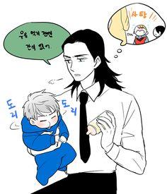 [Loki & Baby Jake Frost ] Loki: you're exactly like him . Jake Frost, Baby Loki, Thor X Loki, Superhero Memes, Cartoon Jokes, Spideypool, Anime Crossover, Loki Laufeyson, Tom Hiddleston Loki