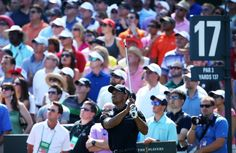 Tiger Woods of the USA plays a shot from the 17th tee during round two of THE PLAYERS Championship at THE PLAYERS Stadium course at TPC Sawgrass on May 10, 2013 in Ponte Vedra Beach, Florida.
