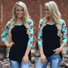 Floral Sleeve T-Shirt