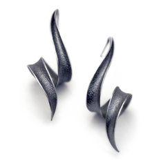 Anticlastic Earrings in Sterling silver - Soft Black Bolts. Etsy. Revonav